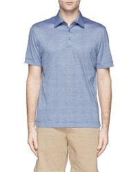 Canali Stripe Cotton Polo Shirt - Lyst