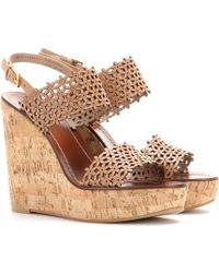 Tory Burch Floral Leather Wedges - Lyst