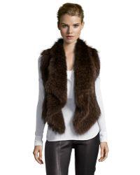 Vince Dark Brown Raccoon Fur Wide Lapel Open Front Asymmetrical Vest - Lyst