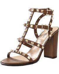 Valentino Rockstud Sandal brown - Lyst
