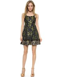 Vera Wang Collection Pleated Trapeze Dress - Navy/Blush - Lyst
