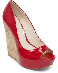 Jessica Simpson Bethani Faux Leather Wedges - Lyst