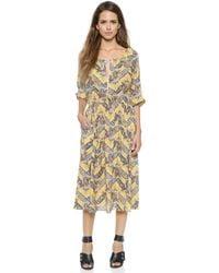 Sea Peasant Dress - Yellow - Lyst