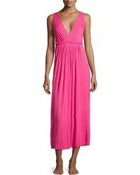 Oscar de la Renta Sleeveless Stretch Modal Long Gown - Lyst