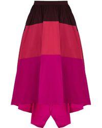 Karen Millen Taffeta Stripe Maxi Skirt - Lyst