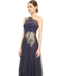 Notte By Marchesa One Shoulder Gown - Navy - Lyst