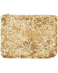 Santi Gold-Tone Sequin Clutch Bag - Metallic