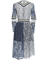 Preen Lace Palairet Dress in Navy and White - Lyst