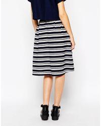 First & I Stripe Midi Skirt - Blue