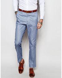 Féraud Gianni Premium 55% Linen Suit Trousers In Pale Blue