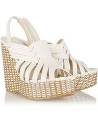 Jimmy Choo Perdita Leather And Raffia Wedge Sandals - Lyst