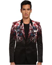 Just Cavalli Bloom Print Satin Single Button Blazer Coat - Lyst