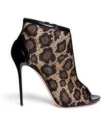 Alexander McQueen Patent Leather Trim Leopard Lace Sandal Boots black - Lyst