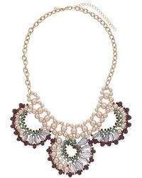 Topshop Faceted Bead and Pearl Collar - Lyst