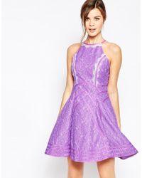 Forever Unique Daphne Skater Dress With Eyelash Lace Trim - Purple