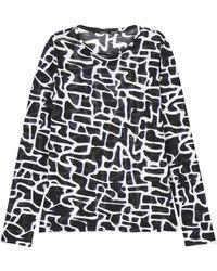 Proenza Schouler Maze-Print Slub-Jersey T-Shirt - Lyst