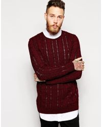 Asos Red Cable Sweater - Lyst