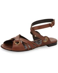 Donna Karan New York Crisscross Leather Ankle Strap Flat Sandal - Lyst