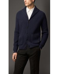 Burberry Wool Cashmere Shawl Collar Cardigan - Lyst