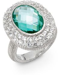 Judith Ripka Isabella Spinel, White Sapphire & Sterling Silver Ring green - Lyst