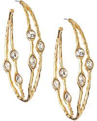 Kenneth Jay Lane Hoop Earrings W/ Rhinestones - Lyst