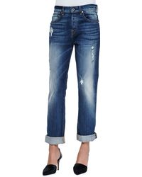 7 For All Mankind The Distressed Boyfriend Jeans - Lyst