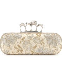 Alexander McQueen Lake Tulip Lace Knuckleduster Clutch Bag - Lyst