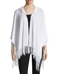Minnie Rose - Cashmere Hooded Fringe Cape - Lyst