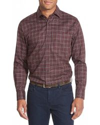 Thaddeus - 'park' Trim Fit Long Sleeve Plaid Twill Sport Shirt - Lyst