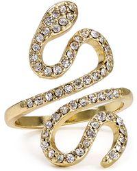Aqua Sienna Pave Snake Ring - Metallic