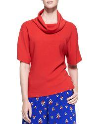 Carolina Herrera Short-Sleeve Knit Loose-Turtleneck Top - Lyst
