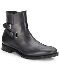 Ferragamo Saverio Buckle Leather Boots - Lyst