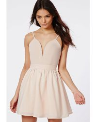 Missguided Lori Sweetheart Skater Puffball Dress Nude - Lyst