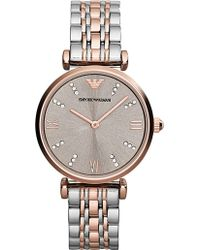 Emporio Armani Ar1840 Gianni Stainless Steel And Rose Gold-Plated Watch - For Women pink - Lyst