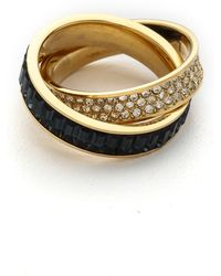 Michael Kors Pave Baguette Crossover Ring Goldblue - Lyst