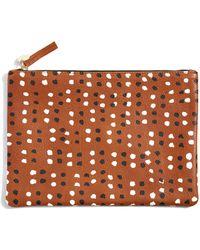 Clare V. British Tan Flat Clutch W. Black & Cream Mini Dots brown - Lyst