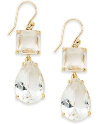 Kate Spade New York Gold-tone Clear Stone Double Drop Earrings - Lyst