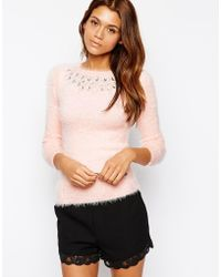 Lipsy - Michelle Keegan Loves Fluffy Sweater With Jewel Embellished Neck - Lyst