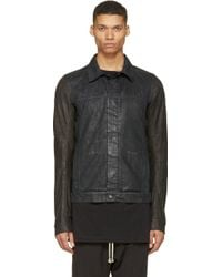 DRKSHDW by Rick Owens Black Denim And Leather Worker Jacket - Lyst