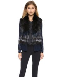 Yigal Azrouel For Fur Vest Jet Multi - Lyst