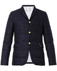 Moncler Gamme Bleu Quilted Wool-flannel Blazer - Blue