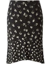 Nina Ricci Floral Print Flared Skirt - Lyst