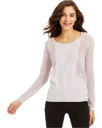 DKNY Long-Sleeve Mesh Lace Sweater - Lyst