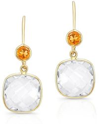 Anne Sisteron - 14kt Yellow Gold White Topaz Citrine Cushion Cut Earrings - Lyst