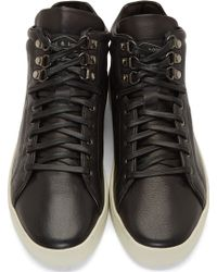 Rag & Bone Black Leather Kent High_Top Sneakers - Lyst