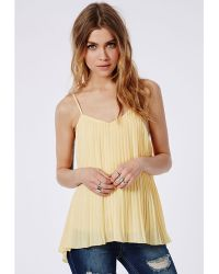 Missguided Pleated Cami Top Lemon - Lyst