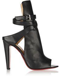 Christian Louboutin Hippik 100 Cutout Leather Ankle Boots - Black