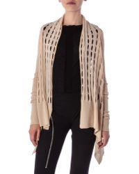 Rick Owens High-Low Cardigan In New Wool Knit - Lyst