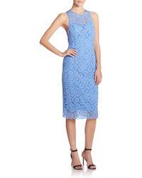 Nanette Lepore Lace Open-Back Sheath blue - Lyst