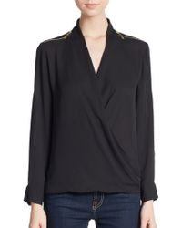Chaus New York - Zipper Detailed Roll-tab Sleeve Blouse - Lyst